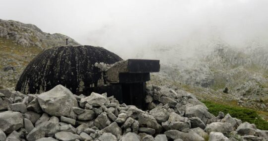 A bunker build in 1940s durin Communism time in Albania. The trail of Peaks of the Balkans goes through several bunkers